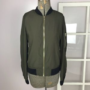 Zara olive green lightweight bomber jacket